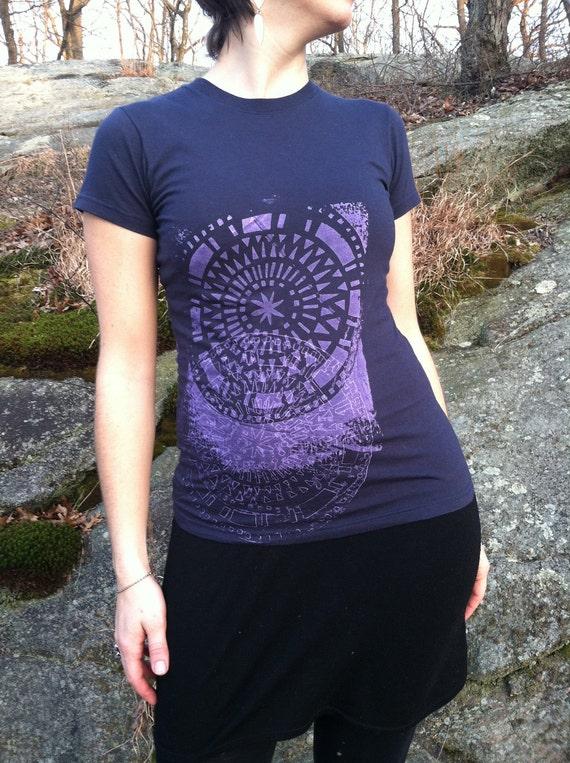 Organic Cotton Hand Drawn Mandala Printed Tee Shirt  xs/small