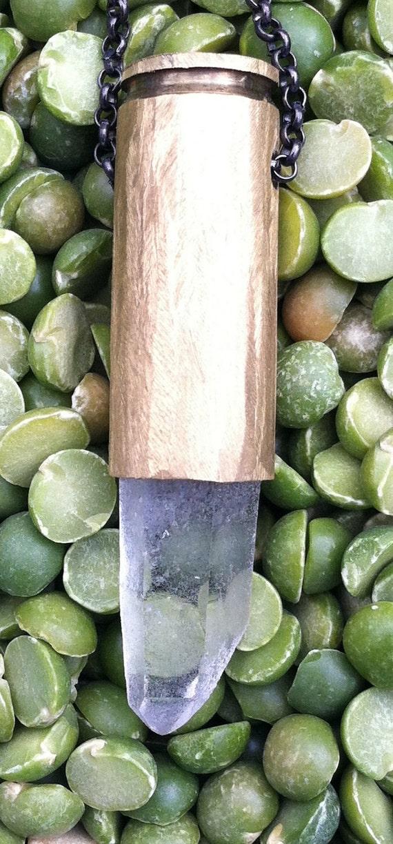 Lemurian Seed Crystal Quartz Point Bullet Necklace