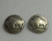 Buffalo Nickel Button - Metal Shank Button - Antique Silver - 2 pc Set Small- Historical Western America Accessory