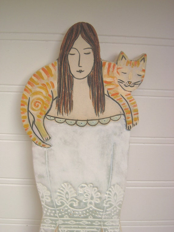 Pretty Lady with Orange Tabby Cat Ceramic Wall Tile