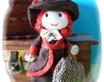 Handmade doll pin lady 1900 s miniature dollhouse scale 1 12 doll art doll brooch pendentif necklace