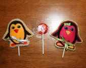 In The Hoop Penguin Lollipop Holder Applique Design for Embroidery Machines