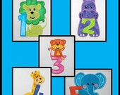Animals with Numbers Applique Design Set for Embroidery Machines