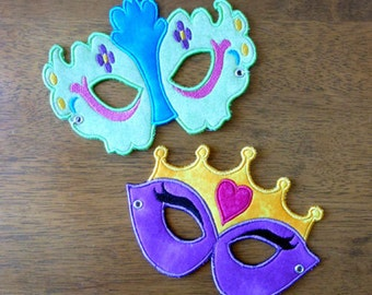 In The Hoop Princess Mask Set Embroidery machine applique designs