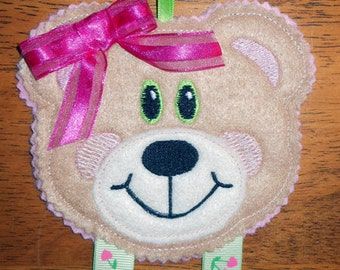In the hoop Bow Holder Bear Design for embroidery machines