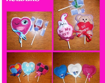 In The Hoop Valentine Lollipop Holder designs for Embroidery Machines