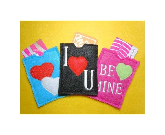 In the hoop valentine gift card holders machine embroidery