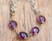Amethyst Bracelet Vintage Bracelet Swarovski Crystal Bracelet Plum Purple Jewelry Sugar Plum Mothers Day Gift