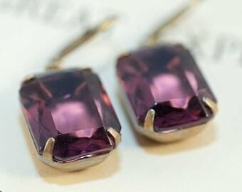 Purple earrings estate style earrings amethyst earrings bridal earrings lavender earrings plum earrings