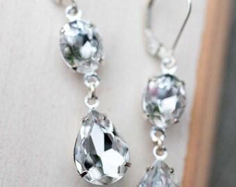 Sterling Silver Clear Crystal Bridal Bridesmaid Earrings Vintage Style Bridal Jewelry Estate Style Swarovski Crystal Wedding Jewelry