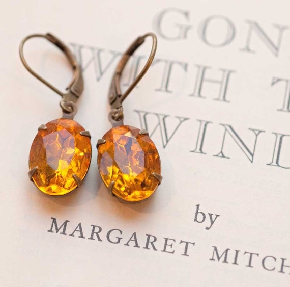 Topaz Earrings, Estate Style, Vintage Jewelry - Amber Harvest