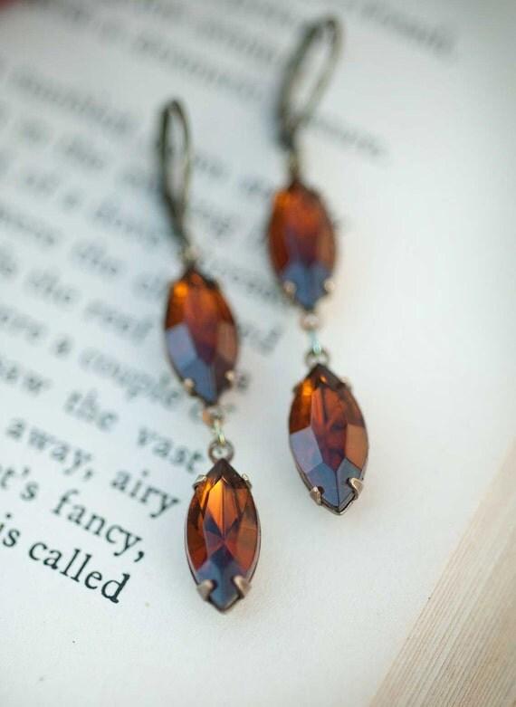 Dark Amber Vintage Swarosvki Drop Dangle Earrings, Rustic Woodland Bridal Wedding Earrings Vintage Topaz, Under 25 Gift Idea For Her