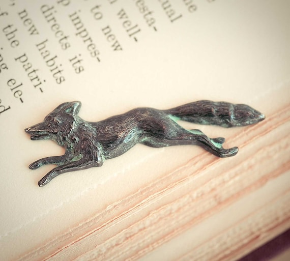 Fox Brooch Vintage Pin Woodland Animal Verdigris Fox Indie Jewelry Natural History Bohemian Jewelry Accessory
