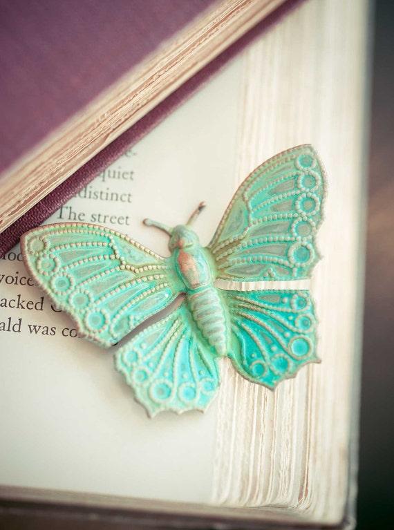 Verdigris Butterfly Brooch Teal Statement Jewelry Vintage Woodland Brosche Spring Garden mint Indie Jewelry Natural History