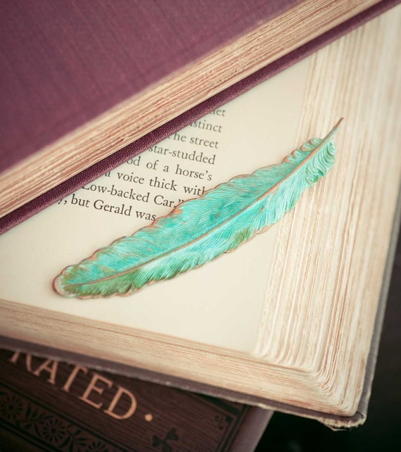 Verdigris Feather Brooch Vintage Woodland Feather Pin Bird Spring Garden mint Indie Jewelry Natural History
