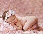 Baby Headband- White and Light Pink Handmade Rosette with Beaded Center on White Headband