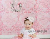 Baby Flower Headband- Newborn Headband- Light Pink Ruffled Chiffon Flower on Soft White Elastic Headband