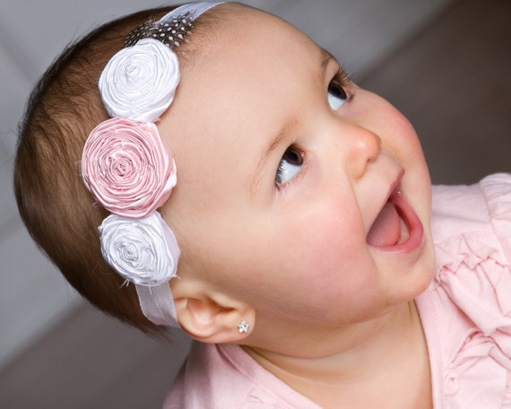 Rose Flower Headband- Newborn Headband- Baby Headband- Pink and White Rosette Flowers with Feather Accent on White Headband
