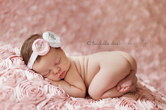 Baby Headband- White and Light Pink Handmade Rosette with Beaded Center on White Headband