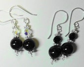 Pearl Earrings - Mystic Black and Sterling Silver