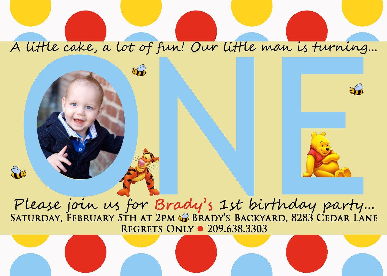Winnie The Pooh 1St Birthday Invitation Templates for luxury invitation sample