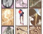 Vintage Lingerie Stockings Seamed Legs Lady -Digital Collage Sheet-Set of 9 Aceo 2.5 x 3.5 Inch-Scrapbook Decoupage  Card Paper Ephemera Magnets Jewelry Print Postcards