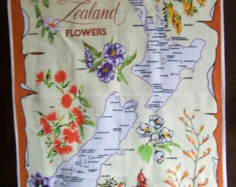 Vintage 80's  Hand Printed Pure Linen with New Zealand Flowers theme by Design Inc.