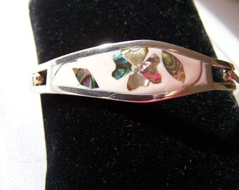 "Vintage 60's TAXCO"" Silver Bracelet White Enamel with Abalone Shell in a Flower Design"