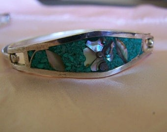 "Vintage 50's  ""TAXCO"" Silver Bracelet  Abalone Shell Floral Design Inlay Crushed Turquoise"