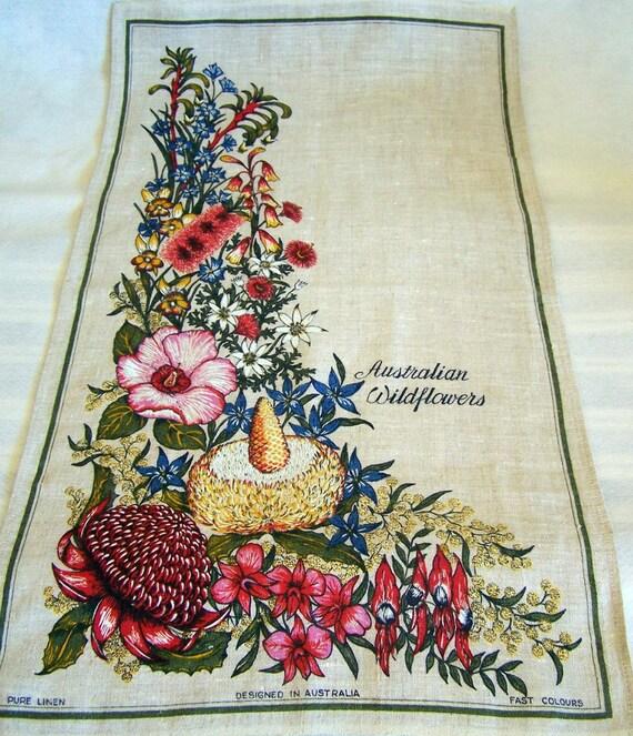 Vintage  Pure Linen Tea Towel Entitled Australian Wildflowers