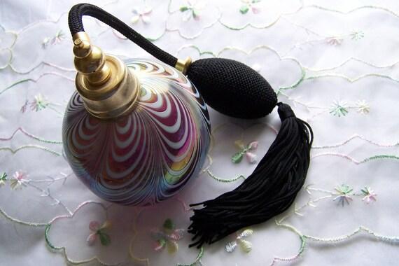 RESERVED4Miranda Vintage 70's Atomizer  Perfume Bottle Old Hollywood Glam with Iridescent Swirls