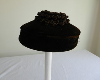 Vintage Brown  Velvet Pillbox Hat