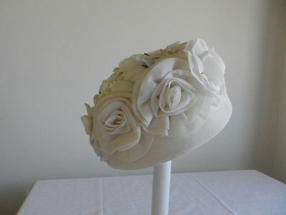 Vintage White Organdy and Floral Pillbox Hat by Valerie