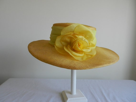Reserved for V. Kentucky Derby Vintage Straw Hat with Wide Brim and Yellow Flower by Raymond Hudd