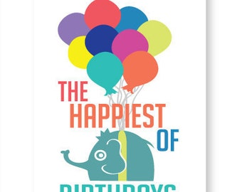 Flying Elephant Birthday Card