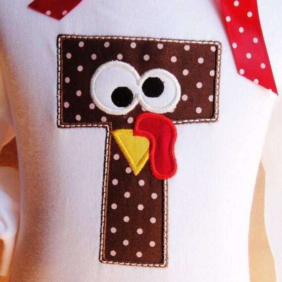 Thanksgiving Turkey Personalized Initial Name Baby Onesie Toddler Kids Shirt Onsie GIRLS BOYS