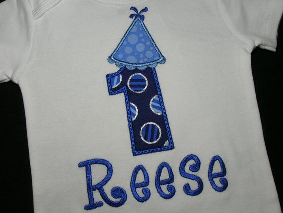BOYS Blue Dot Birthday Party Hat Number One Personalized Name Onesie Shirt Baby Outfit First 1st 2nd 3rd 1 2 3