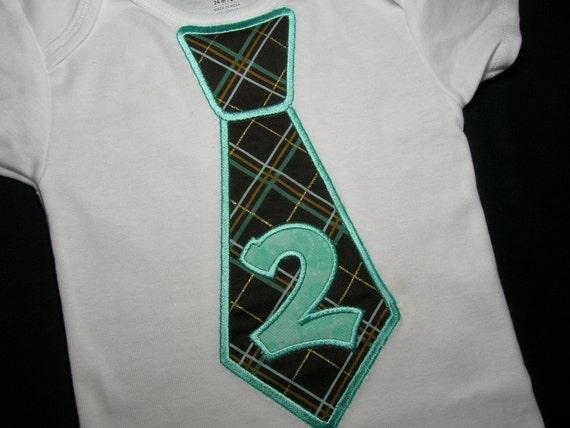Boys 24 mo - 2T Brown Blue Plaid 2nd 2 Second Birthday Tie Baby Onesie Bodysuit Onsie - Ready To Ship