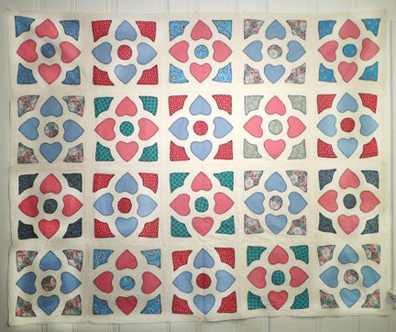 Vintage quilt top charming hand appliqued