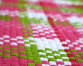 Hand woven rag rug using recycled t shirts- Watermelon, pink and green, 23x63 inches