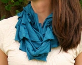 T shirt scarf in peacock blue from upcycled jersey shirt,  Eco-Friendly and fabulously flowing
