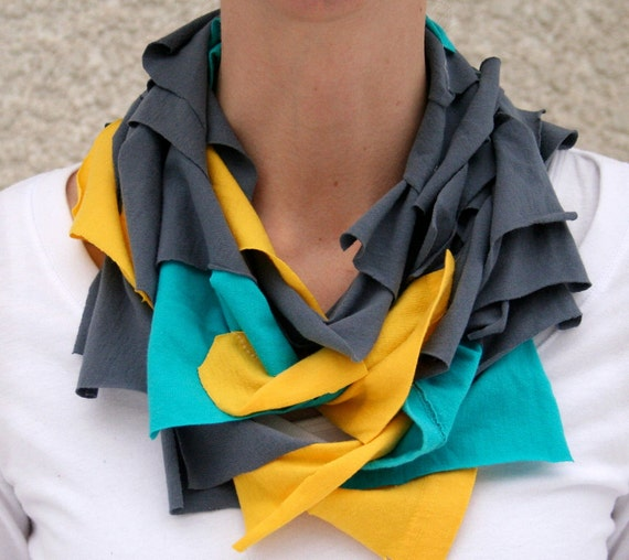 Infinity scarf in yellow, aqua and grey, t-shirt scarf, jersey scarf