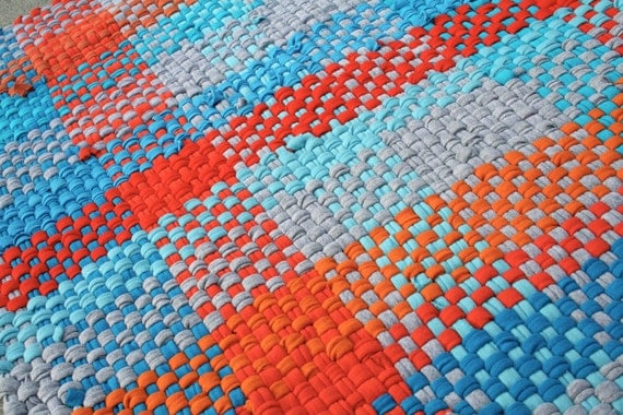Rag Rug From Recycled T Shirts Hand Woven Orange Aqua And