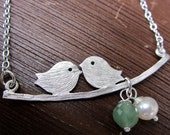 Reserved for Lisa: Two Love Birds Swinging on a Branch with Freshwater Pearl, Green Aventurine, June and August Birthstones, Gift Under 25