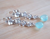 Cherry Blossom with Aqua Chalcedony- Cascading Silver Flower Earrings on Argentium Sterling Silver Hoops