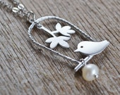 RESERVED For Maggie: White Freshwater Pearl, Silver Bird Pendant on Sterling Silver Chain, June Birthstone, Bird Swing Necklace