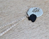 Black Bird and Silver Fern Pendant on Sterling Silver Chain (NR0120)
