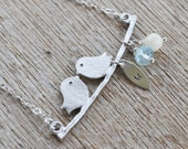 Love Bird Pendant with Personalized Charm, Blue Aquamarine and White Coral stones, Sterling Silver Chain, March Birthstone, Gift Under 30