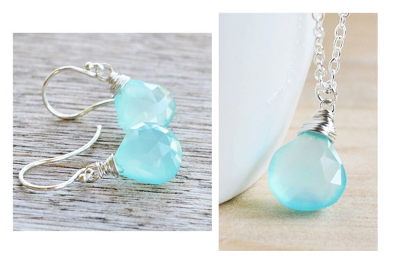 Simple Aqua Chalcedony Pendant and Earrings Set, Wired Wrapped on Sterling Silver Chain, Great Gift for Her or Bridesmaids