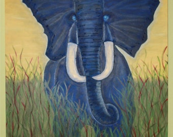 Painting, Acrylic, Multi-Media, Big Blue Elephant in the Center of the Room
